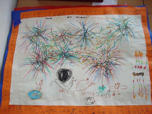 Schrijfdans: vuurwerk maken