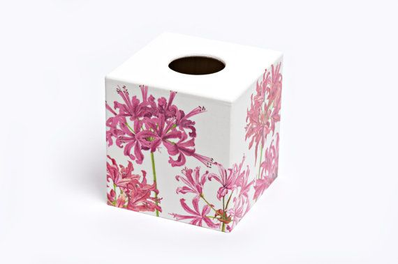 Pink Lily Nerene Tissue Box Cover wooden tissue box from Crackpots