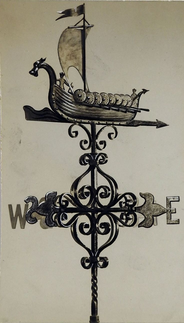 """Weather vane design with Viking ship watercolor and pencil on paper. Unframed, age toning. 5.25""""L x 9""""H"""