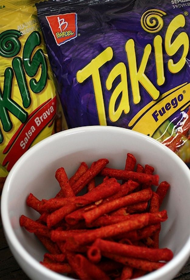 Mexico  Takis The rhyming prodigies of Y.N.RichKids were so enthused by these itty-bitty corn taquitos that they recorded what is now considered the snack anthem of 2012 — an ode to Takis and their American brethren, Hot Cheetos. Flavors include Fuego Hot Chili Pepper and Lime (the most popular), Guacamole, Salsa Brava, Crunchy Fajita, and Nitro.