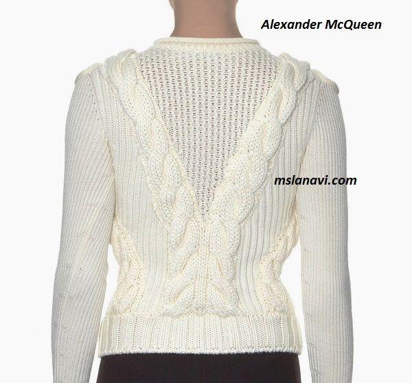 Вязаный модный пуловер спицами от Alexander McQueen | jekaterina ...