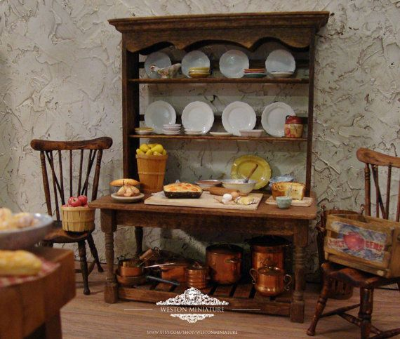 Rustic Kitchen Work Table 1 Inch Scale by WestonMiniature on Etsy, $68.00