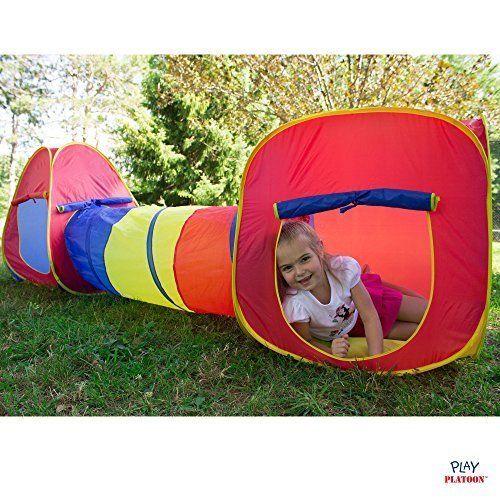 Play Tent Set Pop Up 3 Piece Children Kids Tunnel Indoor Outdoor Boys Girls Fun #PlayPlatoon