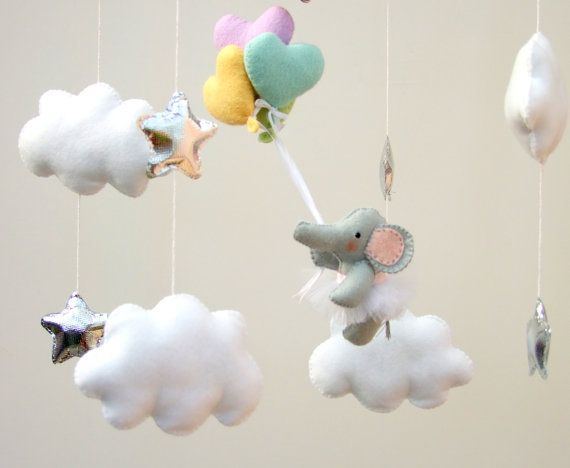 Elephant baby mobile Elephant ballerina Baby mobile by FeltButtons