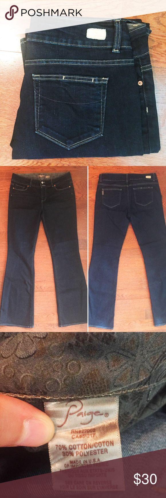 Paige Premium Denim Hidden Hills Dark Flare Jeans Paige Premium Denim Hidden Hills Dark Denim Flare Size 32 Jeans  Waist x Inseam 34x34 Preowned excellent condition Paige Jeans Jeans Flare & Wide Leg