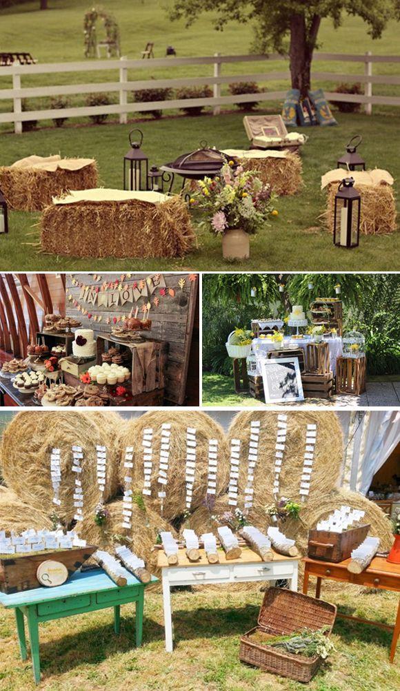 Ideas para bodas campestres: fardos de paja