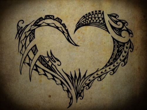 Polynesian Heart Tattoo.