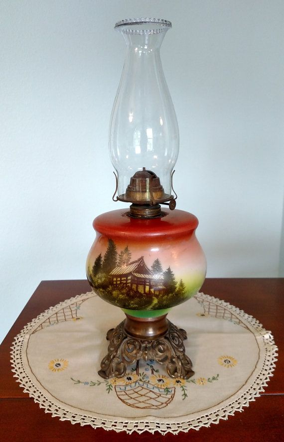 Rare Antique Oil Lamp with Japanese Cottage Scene