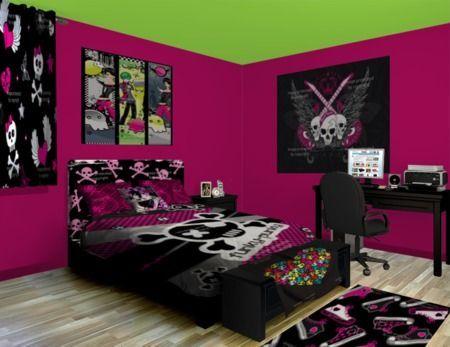 Punk girl bedroom skull craze (With images) | Girls room ...