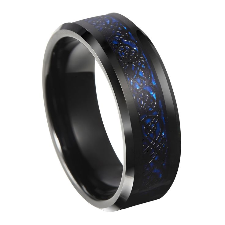 8mm Blue Black Silvering Celtic Dragon Tungsten Carbide Ring Wedding Band Size 6-13:
