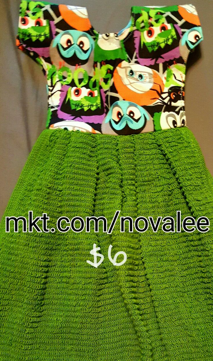 Halloween monster towel. Hangs on any towel rack or your oven door handle with out the fuss of a button. Plus the towel stays in place when opening the oven. Many designs to choose from at mkt.com/novalee