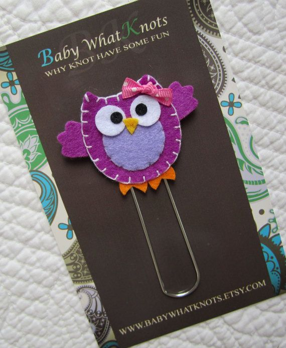 Extra LARGE Paperclip Bookmark Owl Bookmark Kids by BabyWhatKnots