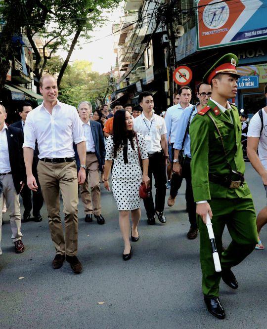 The Cambridges tumblr:Prince William, Duke of Cambridge walks down Lan Ong Street during a two day visit to Vietnam on November 16, 2016 in Hanoi, Vietnam.