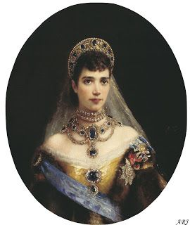 Empress Maria Feodorovna is depicted wearing her Sapphire parure (most of it anyway) in the famous portrait by Konstantin Makovsky. The sketch for the portrait was actually drawn at the wedding celebrations of Grand Duchess Maria Alexandrovna, the daughter of Emperor Alexander II (and thus Maria Feodorovna's sister-in-law) who married Prince Alfred, the son of Queen Victoria.