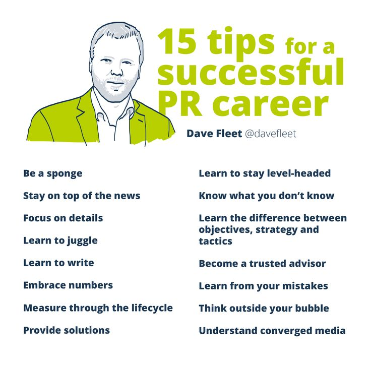 15 tips for a successful PR career. Visual based on a blog post by Dave Fleet of Edelman Digital, Toronto.