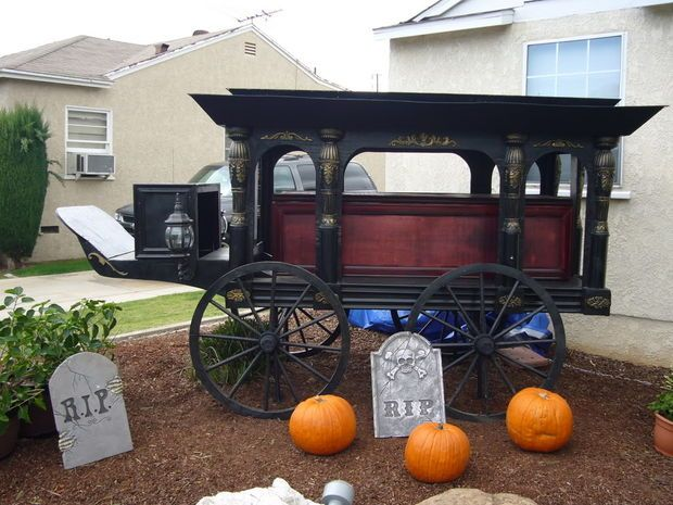antique horse drawn hearse halloween prop replica - Pirate Halloween Decorations
