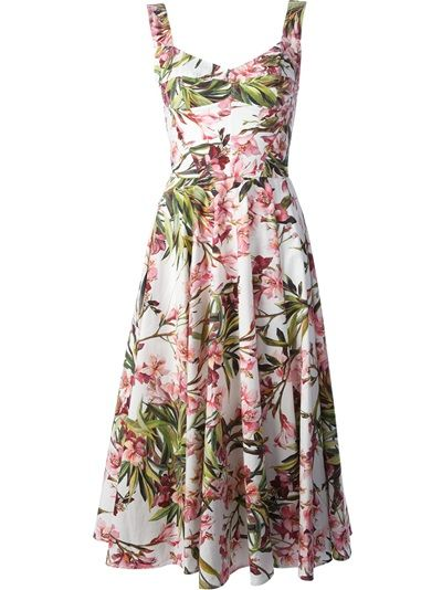 DOLCE & GABBANA - floral print dress . Multicoloured cotton blend floral print dress from Dolce & Gabbana featuring a sweetheart neckline, spaghetti straps, a pleated skirt, a concealed fastening and a long length.  Item ID:10638803 . stretch cotton:3%polyamid lined with stretch cotton