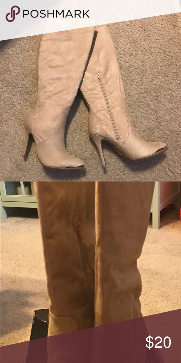 Never worn taupe knee high boots Never worn knee high notes with box. Cute to wear with jeans Shoes Heeled Boots