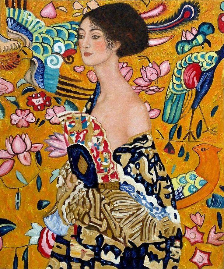 Gustav Klimt, Signora con Ventaglio Interpretation