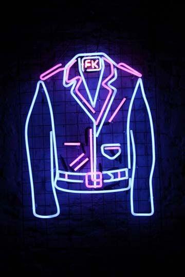 Imagen de neon, jacket, and light