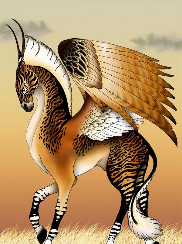 Ethiopian Pegasus Also known as Pegasi Aithiopes. Mythical Number: #1047 Culture:  African Attribute:  Flying Behavior:  Neutral Common Type:  Unicorns This was a winged horse from Ethiopia documented by the ancient Greeks. It had the wings of a bird on a horse that had one great horn protruding from its head. It was born from an island in the Red Sea off the coasts of Ethiopia.