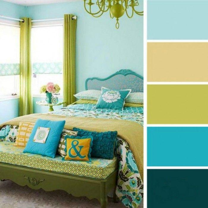 paleta de colores para dormitorio azul verde limon amarillo                                                                                                                                                     Más