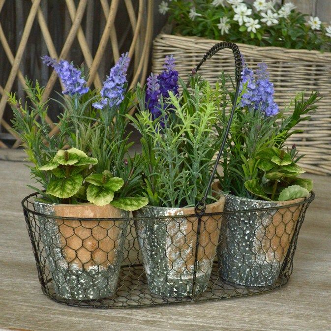 biggie best   metal stand with set of 3 potted plants