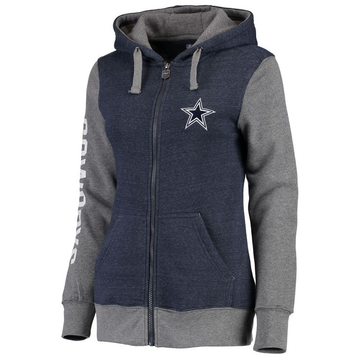 Women's Dallas Cowboys Pro Line Heathered Navy Team Essentials Unity Clean Color Full-Zip Hoodie