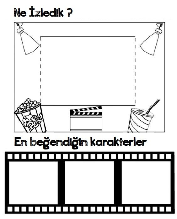 Okul öncesi Sinema Etkinliği Için Boyama Sayfaları Okul öncesi