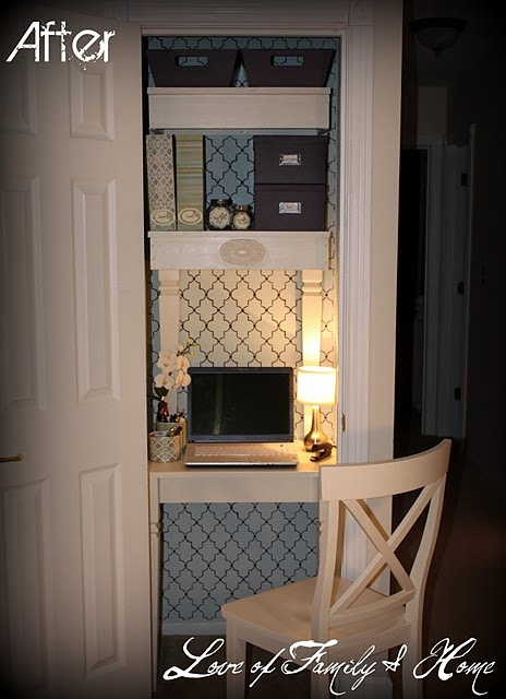 Create an office nook out of a small coat closet.  She re-purposed her old kitchen table for a desk and shelves.