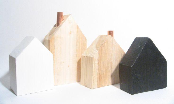 Dřevěné domečky - vánoční dekorace/ černá je dobrá