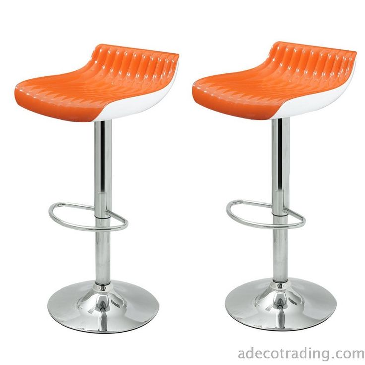 Adeco Glossy Counter Bar Stools, Set of 2, Orange  #AdecoHomeGoods #BarStool #Kitchen