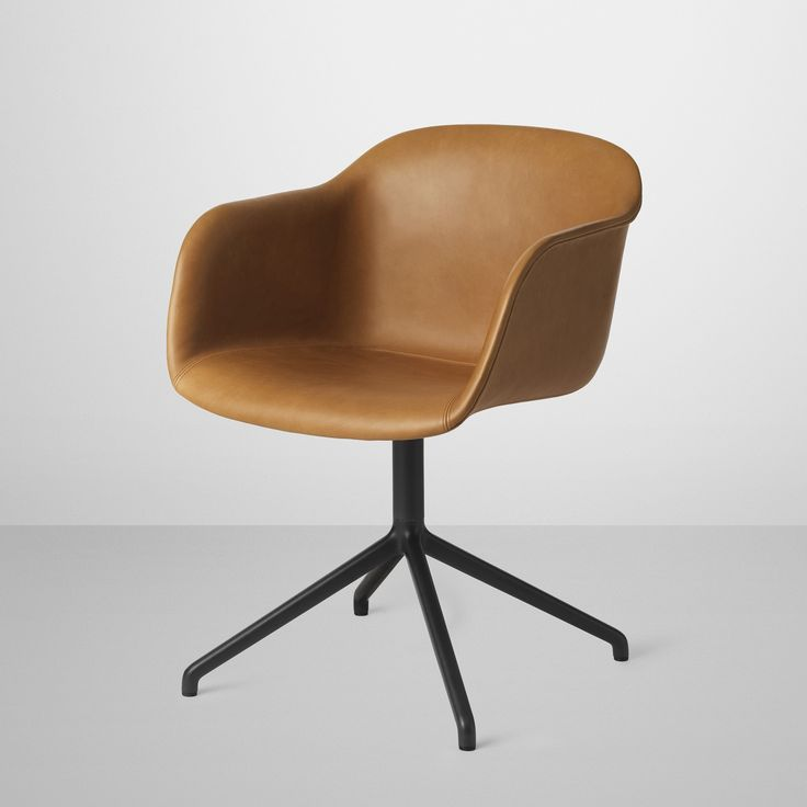 Fiber Chair In Cognac Silk Leather Upholstery