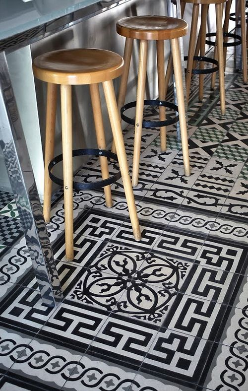 Gorgeous black and white patterned cement tile. Don't be afraid to mix up patterns.