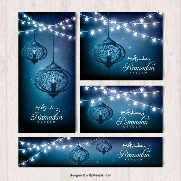 Blue ramadan cards with decoration Free Vector