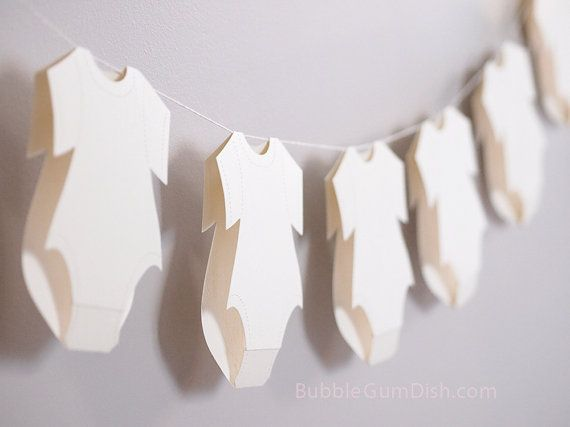 #Baby #Shower #Garland Baby Outfit ClothesLine Paper by BubbleGumDish, $7.50