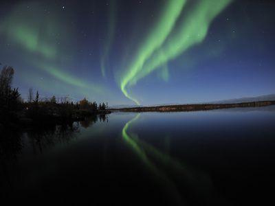 Aurora Borealis Over Long Lake, Northwest Territories, Canada