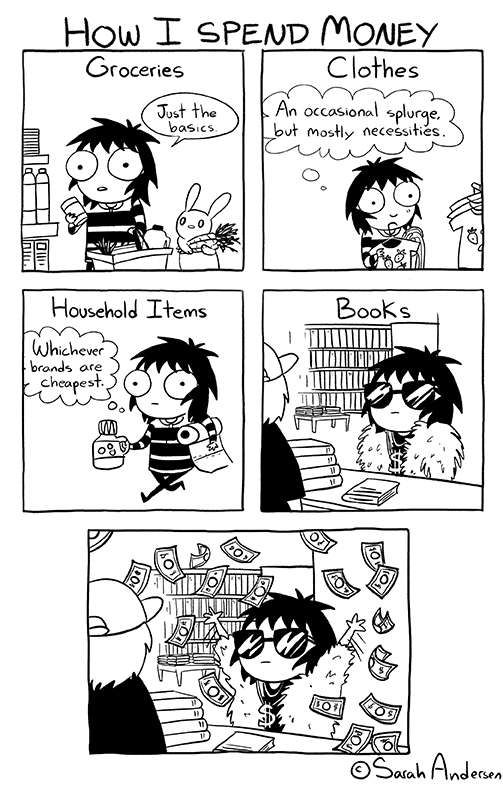 Sarah's Scribbles :: How I Spend Money | Tapastic Comics - image 1