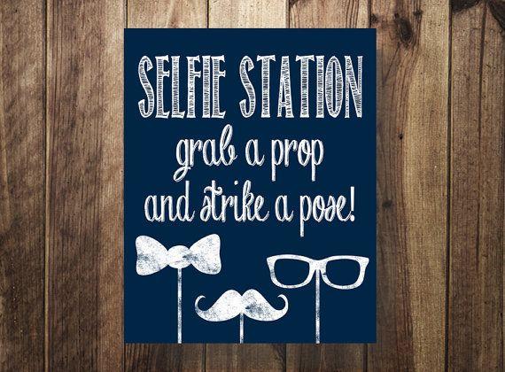 Selfie Station Sign Navy, greifen einem Prop-Streik einen Pose, DIY Foto Booth, rustikal, Party druckbare, Hochzeit Empfang, digitaler Download