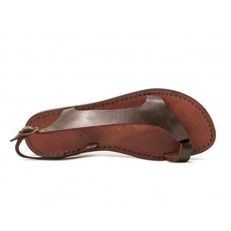 Riemchen-Sandalen für Damen aus braunem Leder in Italien von Hand gefertigt   Gianluca - Das Leder Handwerker