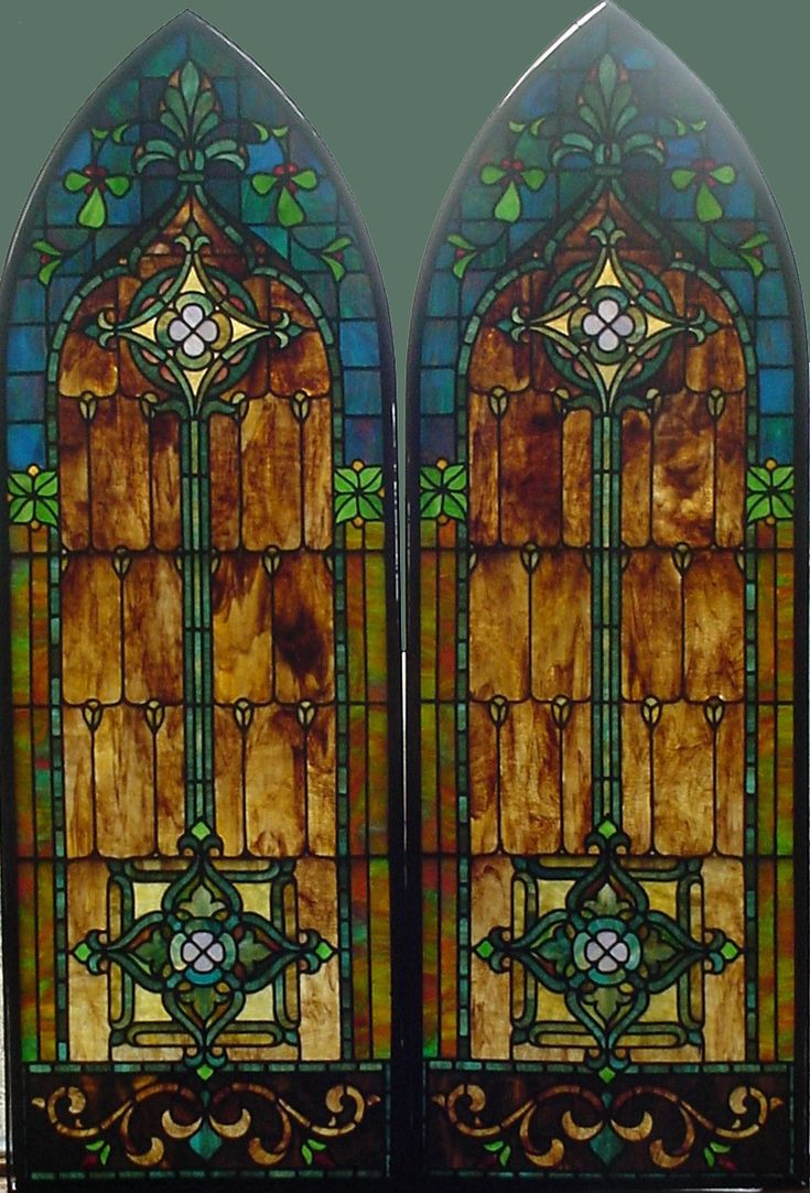 Antique stained glass doors - Vintage Stained Glass Windows Pair Of Antique American Stained Glass Arched Windows In Their