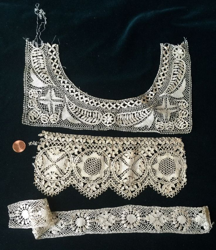 Three VAntique Maltese bobbin lace study pieces COLLECT