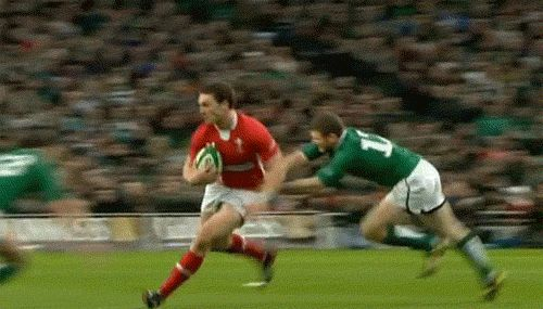 "I love how George is just like, ""No!"" to the Irish player who is prop who tries to tackle him. <3 (Click for more Rugby gifs)"