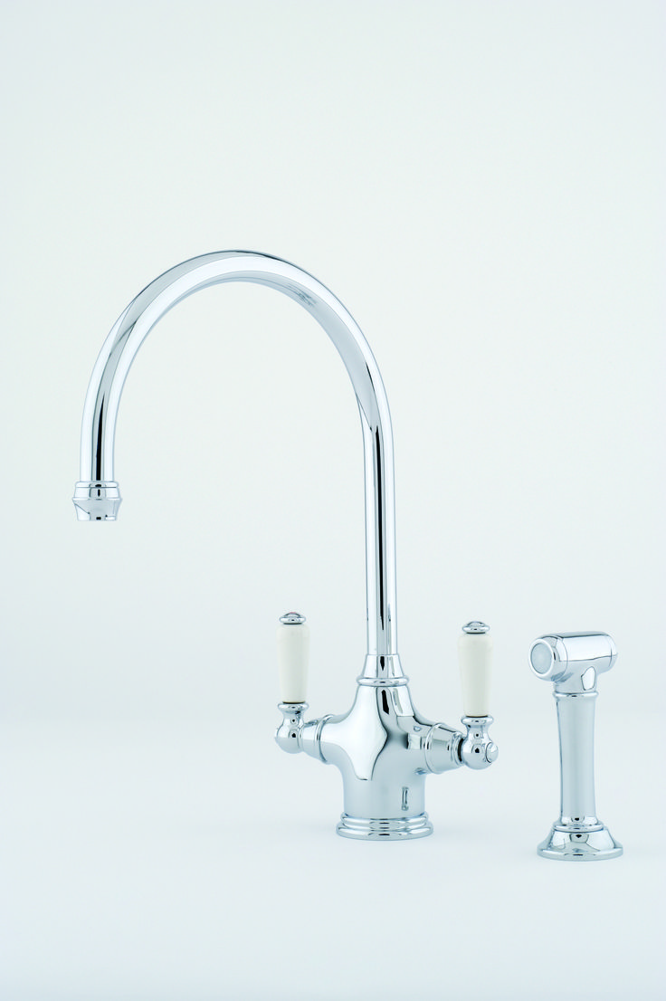 perrin amp rowe phoenician sink mixer and rinse in chrome complete with white porcelian lever handles: perrin rowe lifestyle