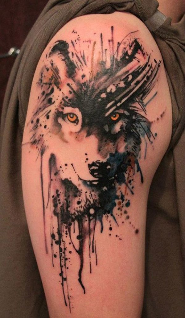 31 Watercolor painting wolf quarter sleeve tattoo