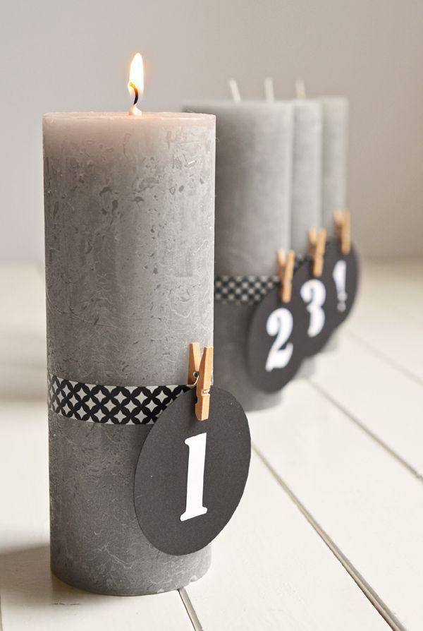 Puristischer Adventskranz ohne Tannenzweige (DIY mit Kerzen und Maskingtape):