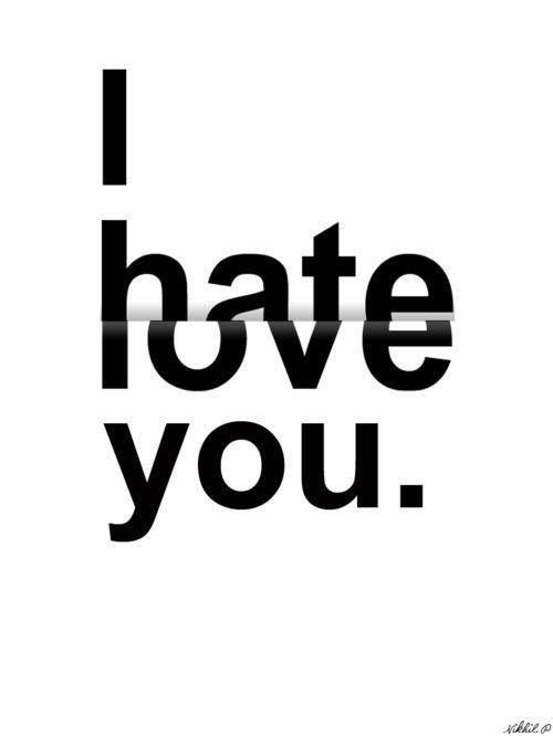 """Y me basto pasar todo un día entero contigo para descubrir que """"Te odio, te amo."""""""