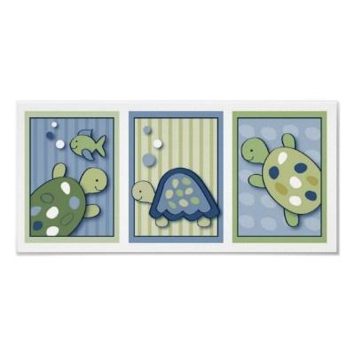 Turtle Reef Turtle Nursery Wall Art Prints by LittlePrintsArt