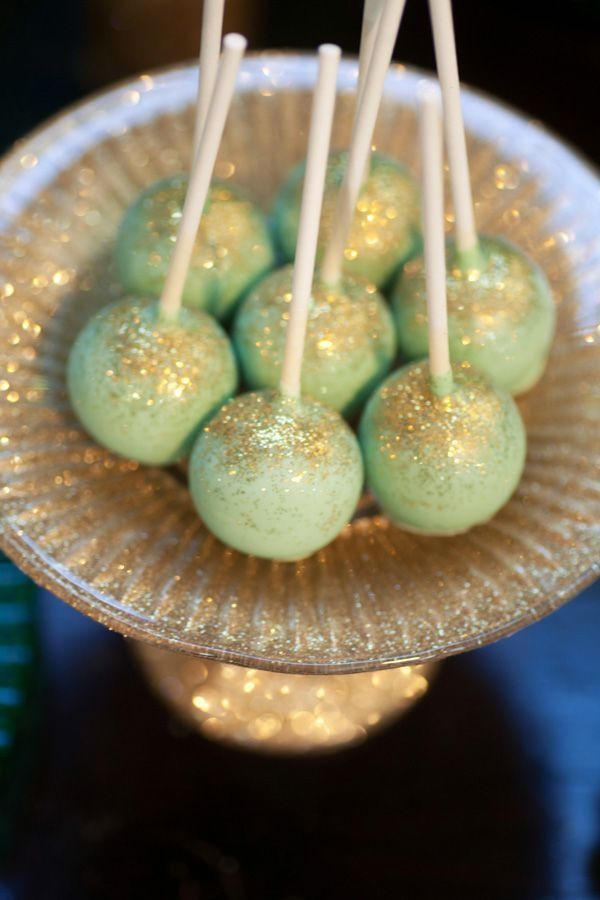Mint and Gold glitter cake pops by Melrose Baking