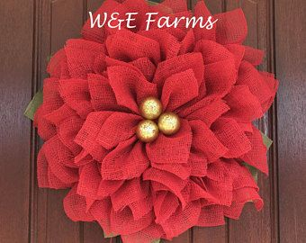 Christmas Poinsettia Wreath, Christmas Burlap Wreath, Christmas Flower Wreath, Christmas Wreath